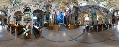 Inside the 18th century Franciscan church of St. Mary Magdalen in Przemyśl.  Click to view this panorama in new fullscreen window