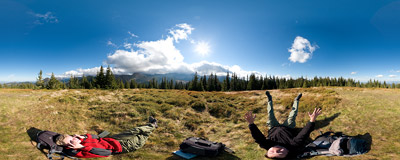 This grassy spot in Western Tatra mountain range called Pustá Roveň ('Empty Flatland') is quite a nice place to lie down in autumn sunshine.  Click to view this panorama in new fullscreen window