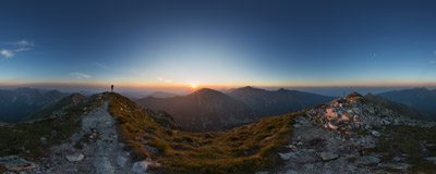 A summer sunrise on the summit of Jakubina (2194 m), the second highest peak of Western Tatra Mountains.  Click to view this panorama in new fullscreen window