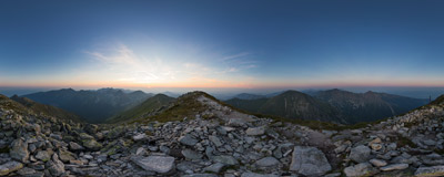 A summer sunset on the summit of Jakubina (2194 m), the second highest peak of Western Tatra Mountains.  Click to view this panorama in new fullscreen window