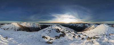 It's getting late on the summit of Jakubina (2194 m) in the Western Tatra Mountains.  Click to view this panorama in new fullscreen window