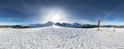 A sunny day in November on the summit of Rakoń (Rákoň, 1879 m) on the Polish-Slovak border in the Western Tatra Mountains.  Click to view this panorama in new fullscreen window