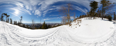 A sunny winter day on the trail to Redykalny Wierch in the Beskid Żywiecki Mountains.  Click to view this panorama in new fullscreen window