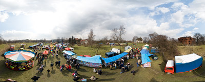 The traditional Rękawka fair.  Click to view this panorama in new fullscreen window
