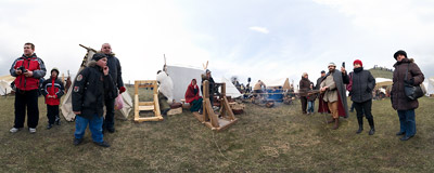 Medieval rope-making workshop at the traditional Rękawka fair under the Krakus Mound.  Click to view this panorama in new fullscreen window
