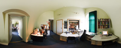 Inside the office of the RMF Classic radio station in Kraków.  Click to view this panorama in new fullscreen window
