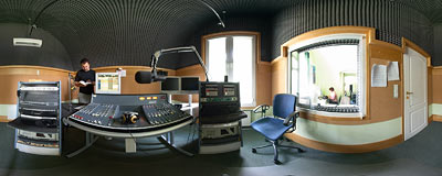 Broadcasting studio in the RMF Classic radio station in Kraków.  Click to view this panorama in new fullscreen window