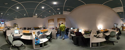 RMF FM - newsroom of the most popular radio station in Poland.  Click to view this panorama in new fullscreen window