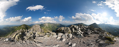 On the summit of Ostrý Roháč (2088 m) in Slovak Tatra mountains.  Click to view this panorama in new fullscreen window
