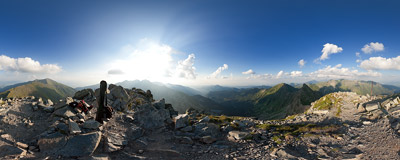 On the summit of Plačlivô (2125 m) in Slovak Tatra mountains.  Click to view this panorama in new fullscreen window