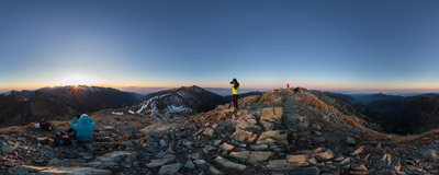 Watching the sunrise on the summit of Plačlivô (2125 m) in Slovak Tatra mountains.  Click to view this panorama in new fullscreen window