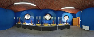 Exhibition of model lighthouses inside the Rozewie lighthouse.  Click to view this panorama in new fullscreen window