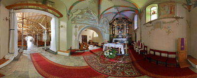Inside the 15th-century Gothic church of St. Gregory in Ruszcza.  Click to view this panorama in new fullscreen window