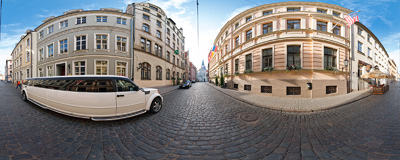 Pils iela ('Castle Street') in the Riga Old Town: Hotel Grand, one of the most expensive in the city, can be found at number 12.  Click to view this panorama in new fullscreen window