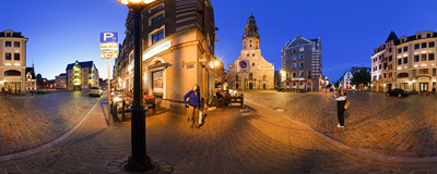 Kungu iela ('Gentlemen's Street') street in the Riga Old Town.  Click to view this panorama in new fullscreen window