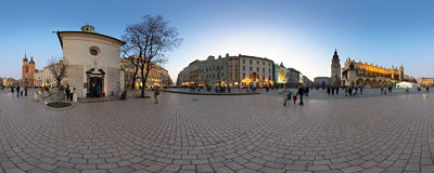 The Kraków Main Square at dusk.  Click to view this panorama in new fullscreen window
