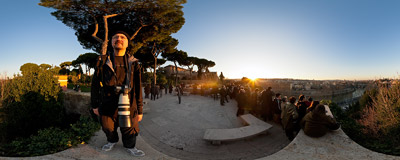 The Orange Garden (Giardino degli Aranci) on the Aventine Hill is a popular sunset-watching spot in Rome.  Click to view this panorama in new fullscreen window