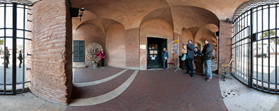 An obligatory photo at the Mouth of Truth in Rome, Italy.  Click to view this panorama in new fullscreen window