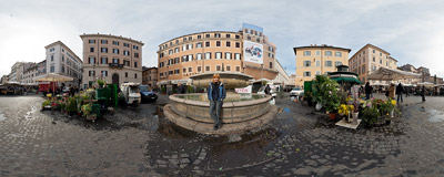 Campo de' Fiori in Rome, Italy.  Click to view this panorama in new fullscreen window