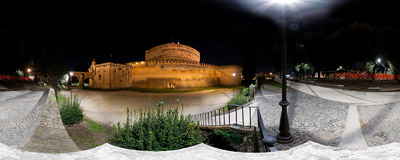Castel Sant'Angelo in Rome, Italy.  Click to view this panorama in new fullscreen window
