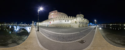 Castel Sant'Angelo in Rome, Italy, and the Ponte Sant'Angelo bridge over the Tiber river.  Click to view this panorama in new fullscreen window