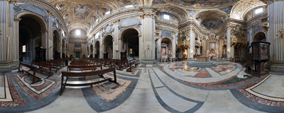 Inside the Chiesa Nuova in Rome, also known as Santa Maria in Vallicella, built in late 16th century as the principal church of the Oratorian congregation.  Click to view this panorama in new fullscreen window