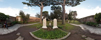 The grave of John Keats (1795-1821) in the Protestant Cemetery of Rome.  Click to view this panorama in new fullscreen window