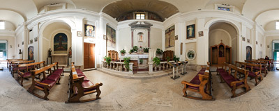 Inside the Church of Domine Quo Vadis in Via Appia Antica in Rome.  Click to view this panorama in new fullscreen window