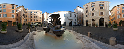 The Fontana delle Tartarughe (The Turtle Fountain) in the Piazza Mattei, in the Sant'Angelo district of Rome, Italy.  Click to view this panorama in new fullscreen window