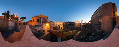 Evening falling on the Roman Forum in Rome.  Click to view this panorama in new fullscreen window