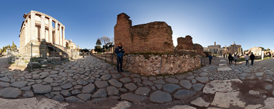 Among the ruins of the famous Forum Romanum, Rome, Italy.  Click to view this panorama in new fullscreen window