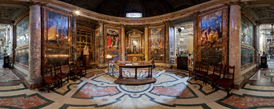Inside the chapel of Madonna Della Strada in the Jesuit church of Il Gesù in Rome.  Click to view this panorama in new fullscreen window