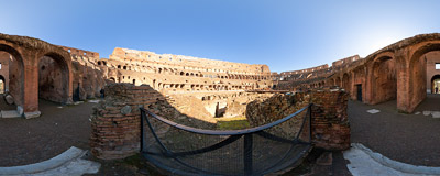 Inside the Colosseum amphiteatre in Rome, Italy.  Click to view this panorama in new fullscreen window