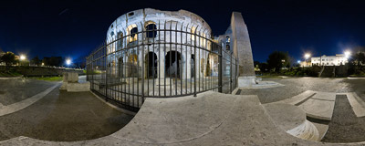 Outside the Colosseum amphiteatre in Rome, Italy.  Click to view this panorama in new fullscreen window
