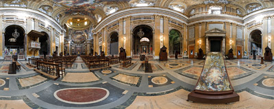 Inside the 16th century church of Il Gesù in Rome.  Click to view this panorama in new fullscreen window