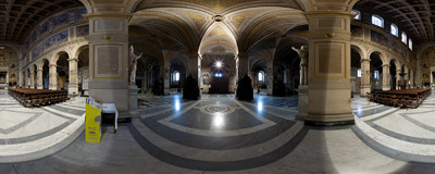 Inside the church of San Lorenzo in Damaso, Piazza della Cancelleria, Rome.  Click to view this panorama in new fullscreen window