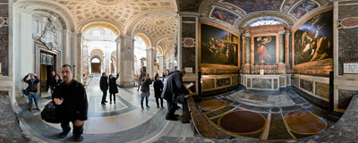 The Contarelli Chapel in the Church of San Luigi dei Francesi in Rome, famous for its three paintings by Caravaggio.  Click to view this panorama in new fullscreen window