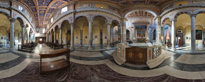 Inside the 12th century church of San Nicola in Carcere on Via del Teatro di Marcello in Rome, Italy.  Click to view this panorama in new fullscreen window