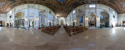 Inside the Basilica of Saint Sebastian outside the Walls in Rome.  Click to view this panorama in new fullscreen window