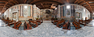 Inside the Basilica di San Vitale church in Rome.  Click to view this panorama in new fullscreen window