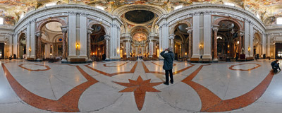Inside Sant'Ignazio, the Baroque church in Rome, dedicated to St. Ignatius of Loyola (1491-1556), the founder of the Society of Jesus.  Click to view this panorama in new fullscreen window
