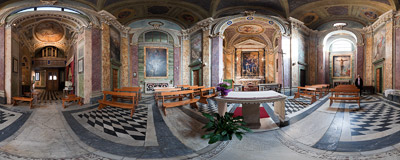 The Baroque interior of the church of Santa Barbara dei Librai in Rome.  Click to view this panorama in new fullscreen window