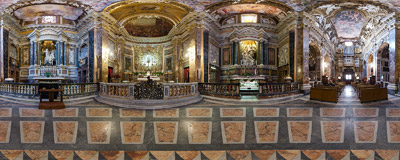 Inside the church of Santa Maria della Vittoria in Rome, Italy.  Click to view this panorama in new fullscreen window