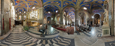 Inside the church of Santa Maria sopra Minerva in Rome.  Click to view this panorama in new fullscreen window