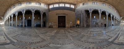Inside the church of Santa Sabina on the Aventine Hill in Rome, Italy.  Click to view this panorama in new fullscreen window