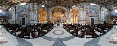 Inside the Santa Susanna church in Rome, Italy.  Click to view this panorama in new fullscreen window