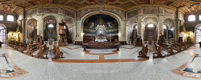 Inside the church of Sts. Cosmas and Damian (Santi Cosma e Damiano) in the Roman Forum.  Click to view this panorama in new fullscreen window
