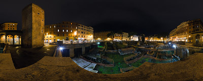 Roman ruins at the square of Largo di Torre Argentina in Rome, Italy.  Click to view this panorama in new fullscreen window