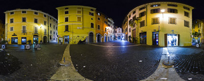 Largo dei Librari, a triangular square :) near Campo de' Fiori in Rome.  Click to view this panorama in new fullscreen window