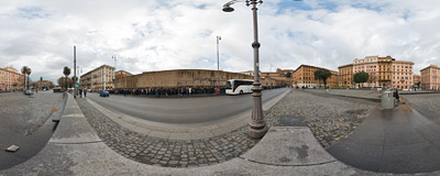 Rome's Piazza del Risorgimento near the Vatican walls.  Click to view this panorama in new fullscreen window